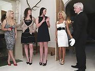 A group of rich girls strip and play with their boy toy butler
